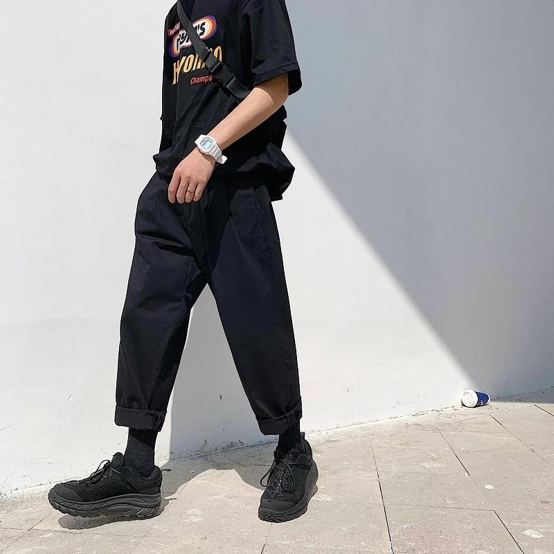 Image 5 - 2019 Mens Simple Leisure Mens Cotton Harem Pants Loose Fashion  Trend Black Color Casual Pants Male Trousers Plus Size M XL  -