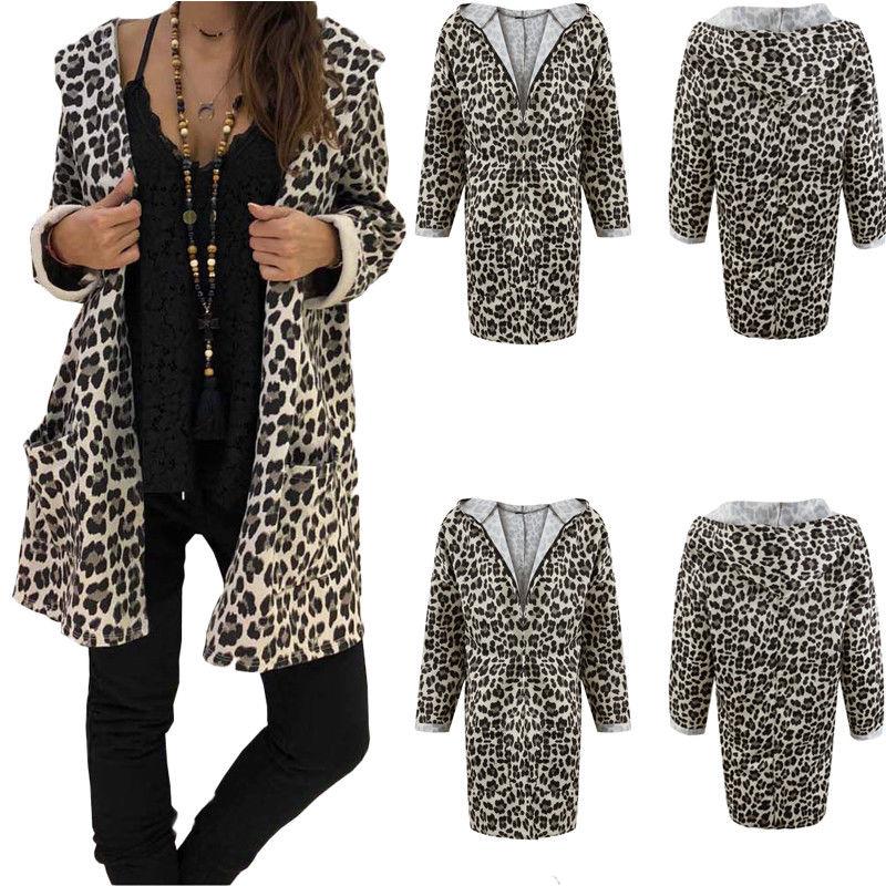 New Women Fashion Boho Leopard Hooded Long Coat Casual Outwear Kimono Jacket Tops