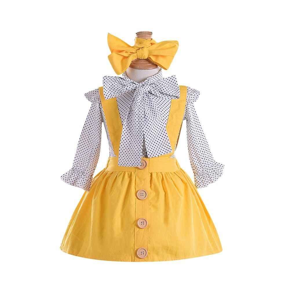 Подробнее Обратная связь Вопросы о Комплект из 3 шт., блузка принцессы в  горошек с длинными рукавами и бантом для девочек, топ, юбка на пуговицах,  ... 86708605df6