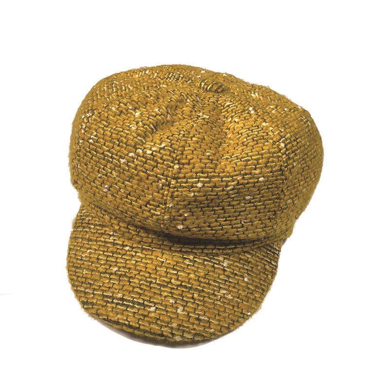 Модные однотонные ткань берет зимние шапки для женщин французский художник девушки береты шапки теплая зимняя шапочка шляпа
