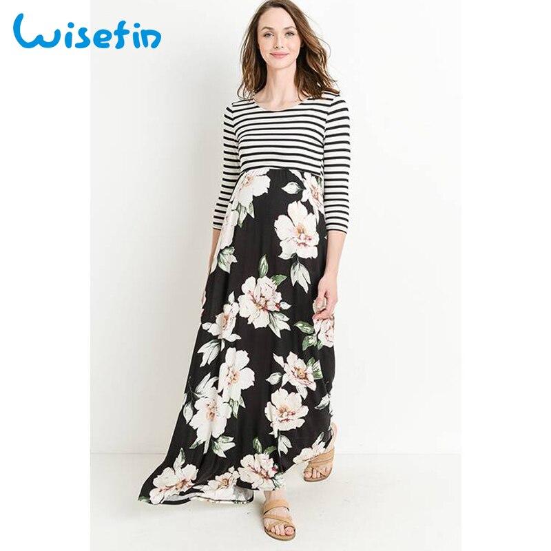 cbb699da991a769 Wisefin платье в стиле пэчворк длинные платья для беременных с цветочным принтом  Полосатое платье для беременных