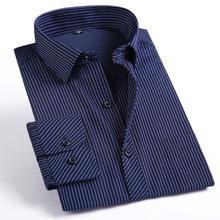 Camisa dos homens listrado clássico cor sólida tamanho grande 5XL 6XL 7XL 8XL branco camisa roupas dos homens longos da luva dos homens camisa masculina
