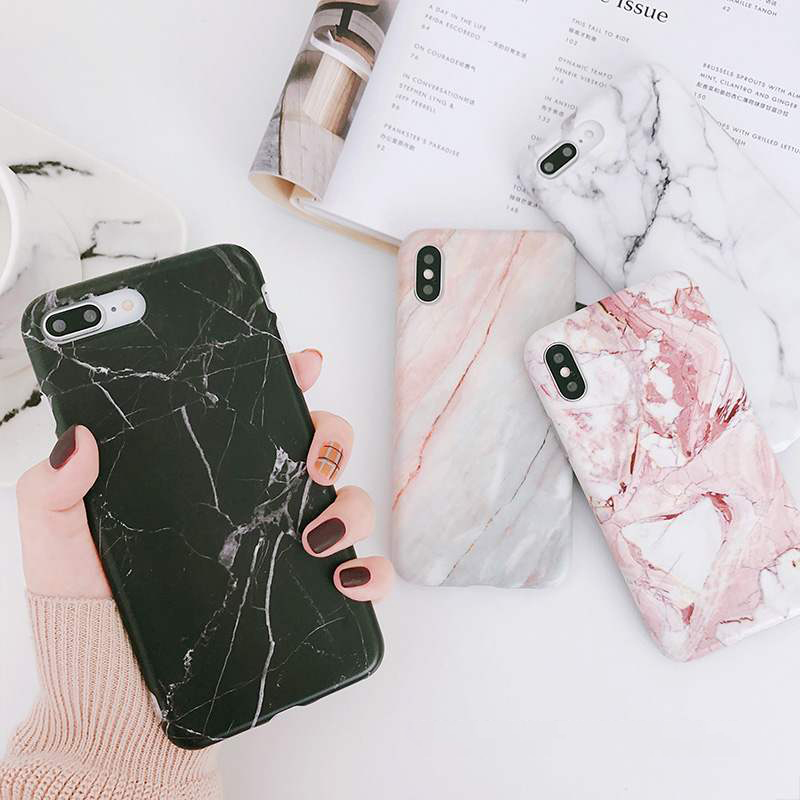 Moskado Shell Phone Case With Glossy Granite Marble Stone Cover For iPhone 11 Pro X XS Max XR 4