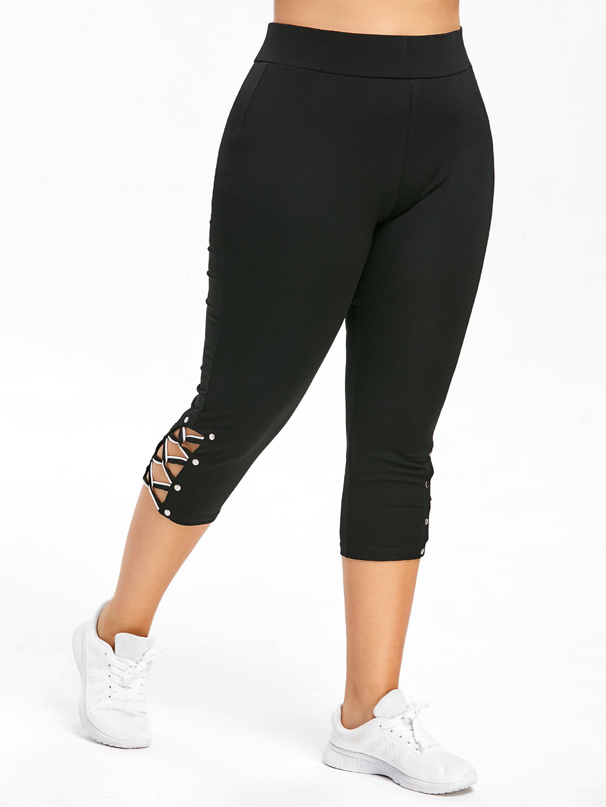 Wipalo Plus Size Criss Cross Capri Leggings Fashion Skinny Solid Mid Waist Women Pants Capri 2019 Summer Lady Trousers 5XL