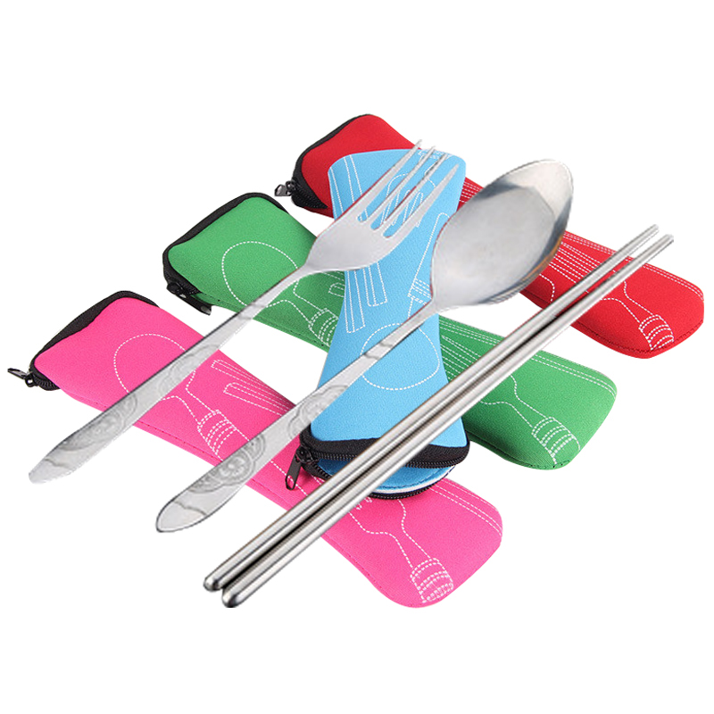 Portable Tableware Dinnerware Set Travel Camping Cutlery Fork Spoon Set Picnic Tool Tableware Storage Bag Holder Organizer