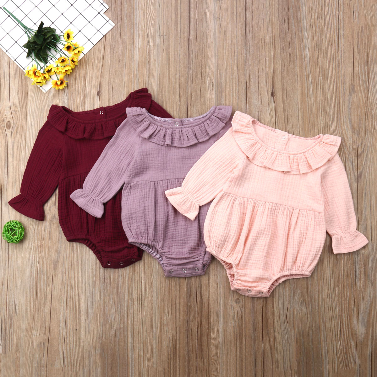 Cute Newborn Baby Girl Long Sleeve Ruffle Collar Solid   Romper   High Waist Jumpsuit Outfit Clothes Sunsuit
