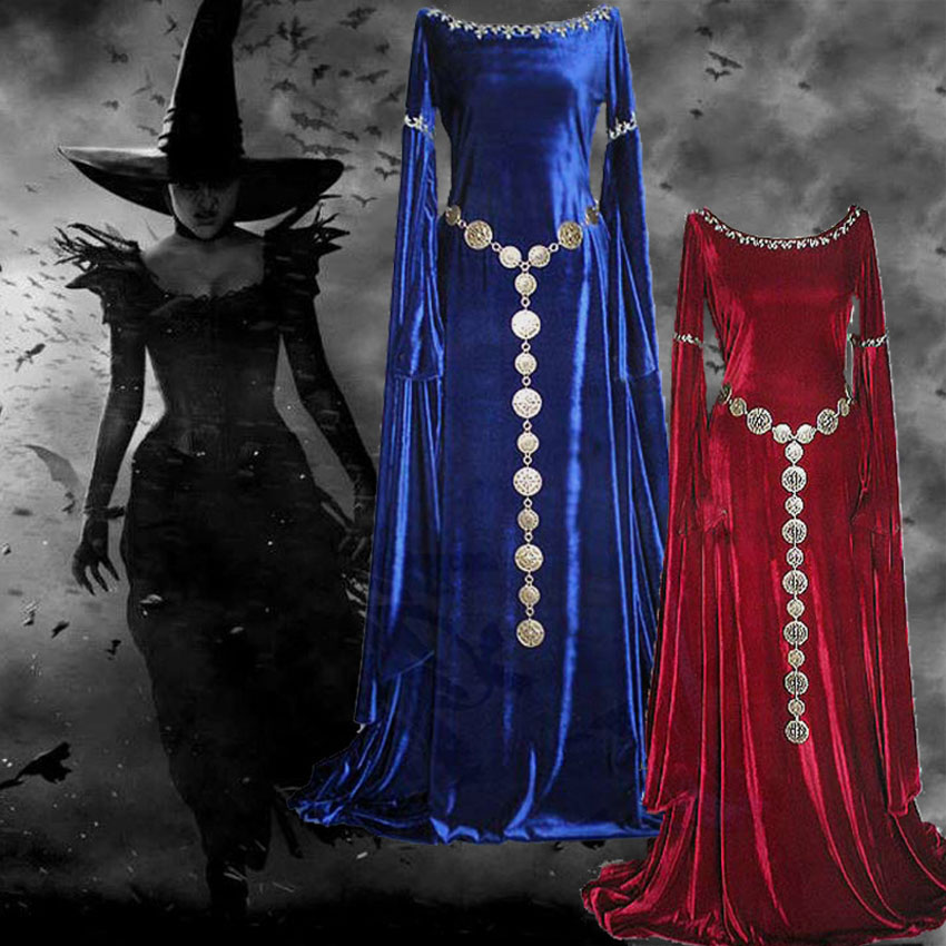European Woman Maxi Dress Medieval Solid Trumpte Sleeve Halloween Princess Cosplay Costumes Round Neck Elegant Dress