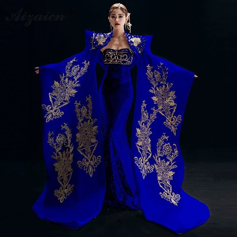New Embroidery Cheongsam Long Evening Party Dresses For Women Chinese Traditional Clothing Qipao Royal Blue Luxury