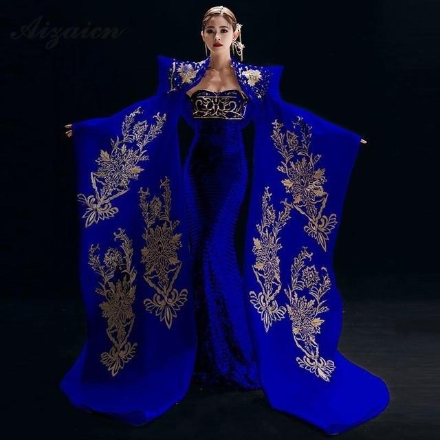 Nuovo Ricamo Cheongsam Lungo Da Sera Vestiti Da Partito Per Le Donne Abbigliamento Tradizionale Cinese Qipao Blu Reale di Lusso Sfilata di Moda