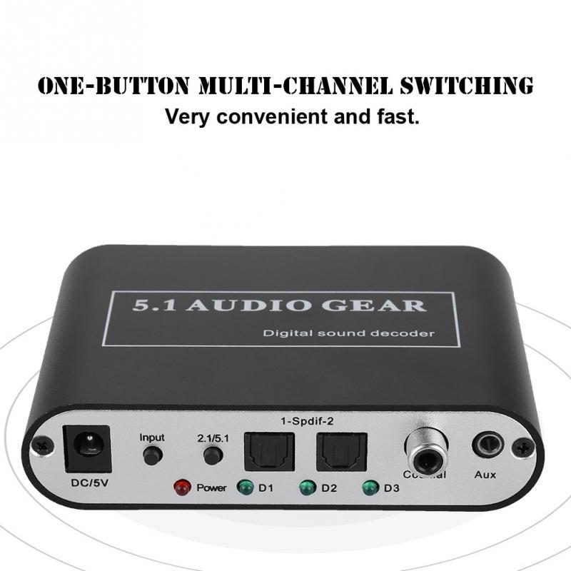 Noise Cancelling Dts Decoder Optische/coaxial Signal/analog Zu 5,1/2,1 Analog Dts Audio Decoder Kleine Größe Unterstützung U Festplatte Spielen Unterhaltungselektronik Tragbares Audio & Video