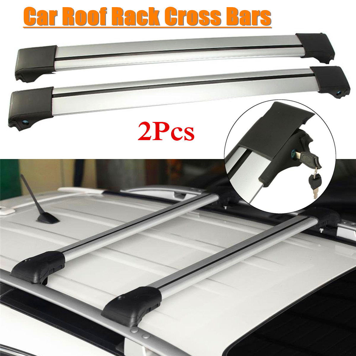 2Pcs Universal Car Roof Rack Cross Bar Luggage Carrier For Raised Rail 93 99mm