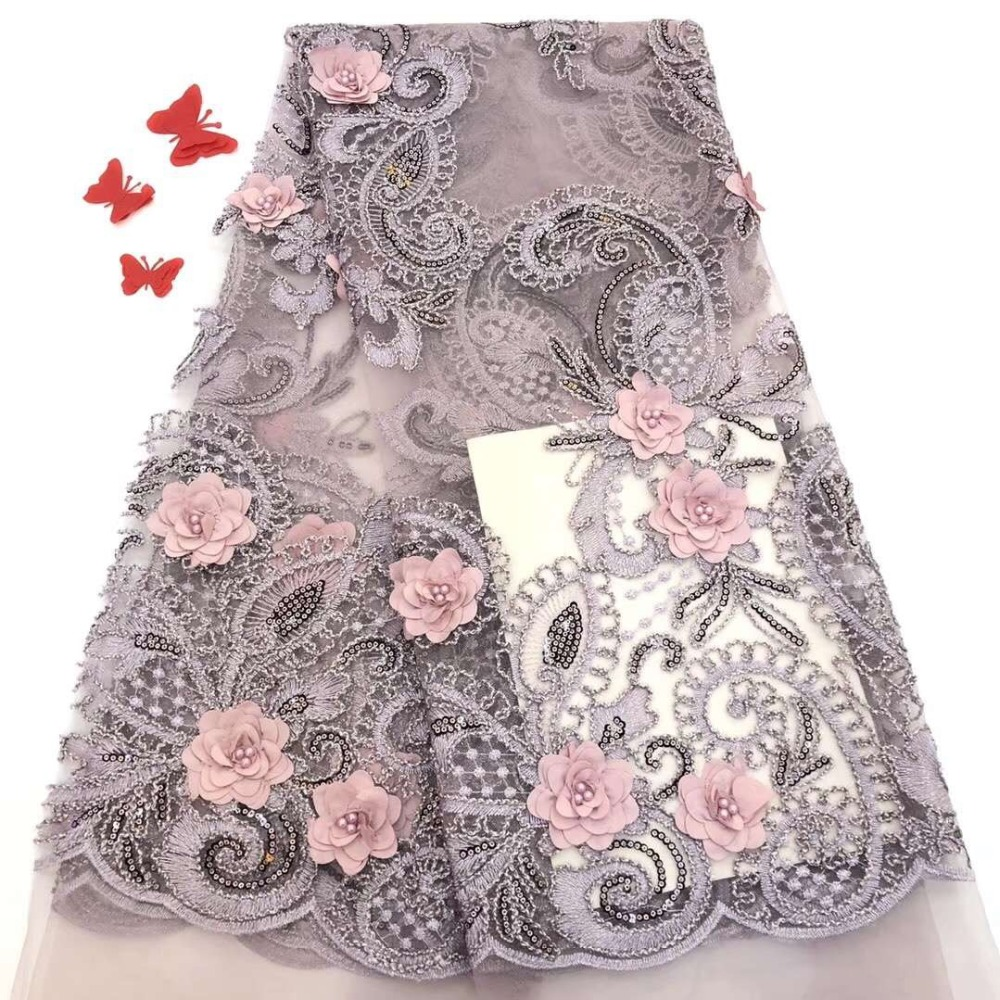 LadyQ New Applique Beads African Lace Fabric 3D Flower with Embroidery Sequence White French Tulle Lace Fabric for Wedding Dress GZ010 Green