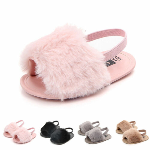 0-18M Newborn Infant Kid Baby Girl Shoes Princess Summer Casual Fluffy Fur Soft Sole Sandals Slippers Anti-slip Crib Shoes