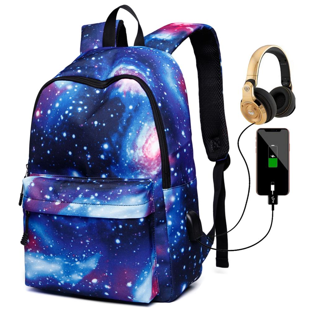 Galaxy Children School Laptop Bags Teenagers Boys Girls Big Backpack With Usb Port Women Waterproof Satchel Men Book Bag Mochila