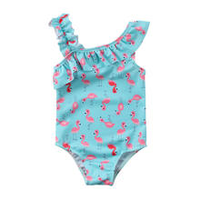 Fashion Children Girls Flamingo Swimsuit Ruffles Cape Swimming One Pieces Swimwear Bathing Suit Age 2-7Y(China)