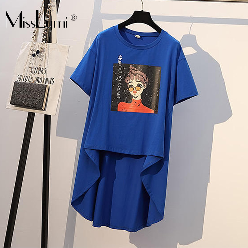 XL-4XL Plus Size Women Cotton T shirt Summer Clothes 2020 Print Short Sleeve Loose Casual Ruffle Asymmetrical Long Tshirt