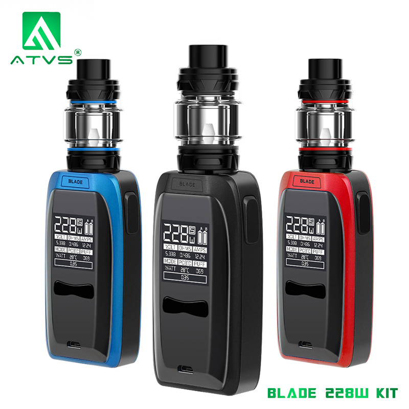 ATVS Blade 228W Vape Mod Electronic Cigarette 0.96*0.96 inch Big OLED Screen Without Dual 18650 Battery 7ml SR11 Glass Tank 25mm
