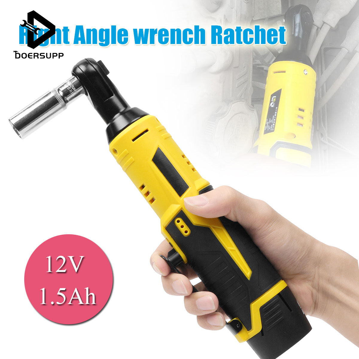 12V 35NM Cordless Electric Ratchet Wrench Rechargeable Right Angle Lithium-Ion Battery Wrench Tools with LED Light Car Repair12V 35NM Cordless Electric Ratchet Wrench Rechargeable Right Angle Lithium-Ion Battery Wrench Tools with LED Light Car Repair