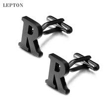 hot deal buy lepton stainless steel cufflinks for mens ip black gun metal letters r cuff links men french shirt cuff cufflink relojes gemelos