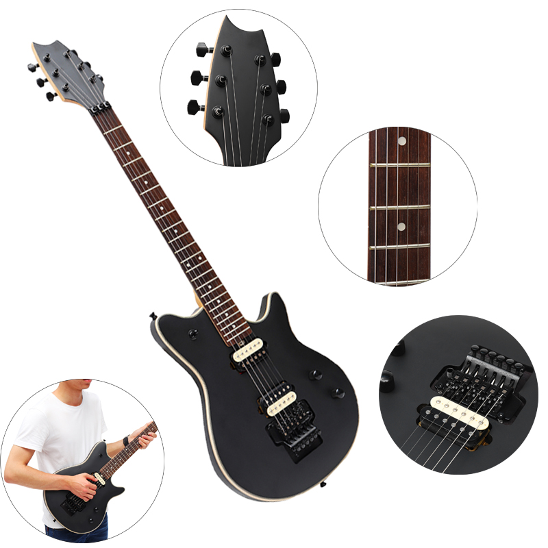 6 String 22 Frets Black Electric Guitar Wooden Hollow Fanned Closed Metal Electric Guitar Musical Stringed Instruments 90*31cm6 String 22 Frets Black Electric Guitar Wooden Hollow Fanned Closed Metal Electric Guitar Musical Stringed Instruments 90*31cm