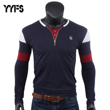 YYFS Men T-Shirt Long Sleeves V-Neck Collar Top Tshirts Plain Color Zipper Opening Quality Brand Clothing Casual T Shirts Men недорого