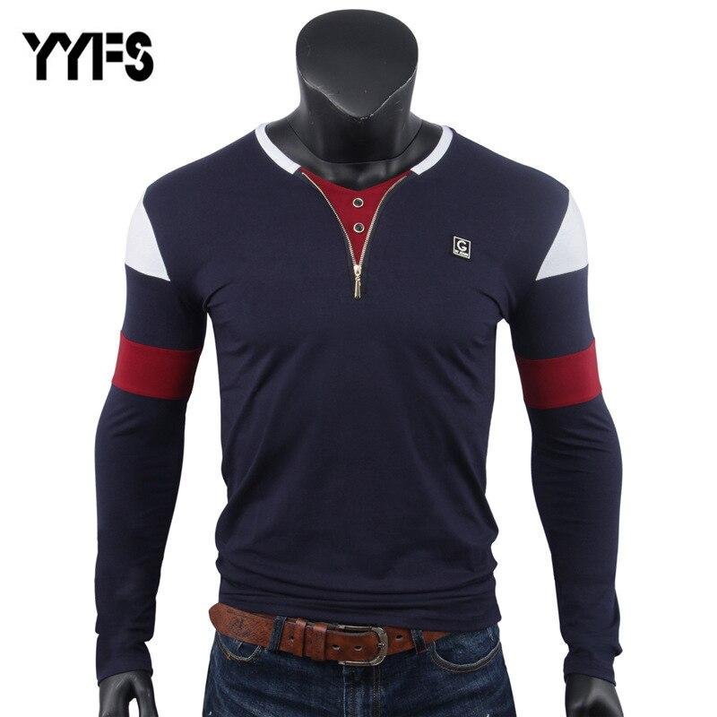 YYFS Men   T  -  Shirt   Long Sleeves V-Neck Collar Top Tshirts Plain Color Zipper Opening Quality Brand Clothing Casual   T     Shirts   Men
