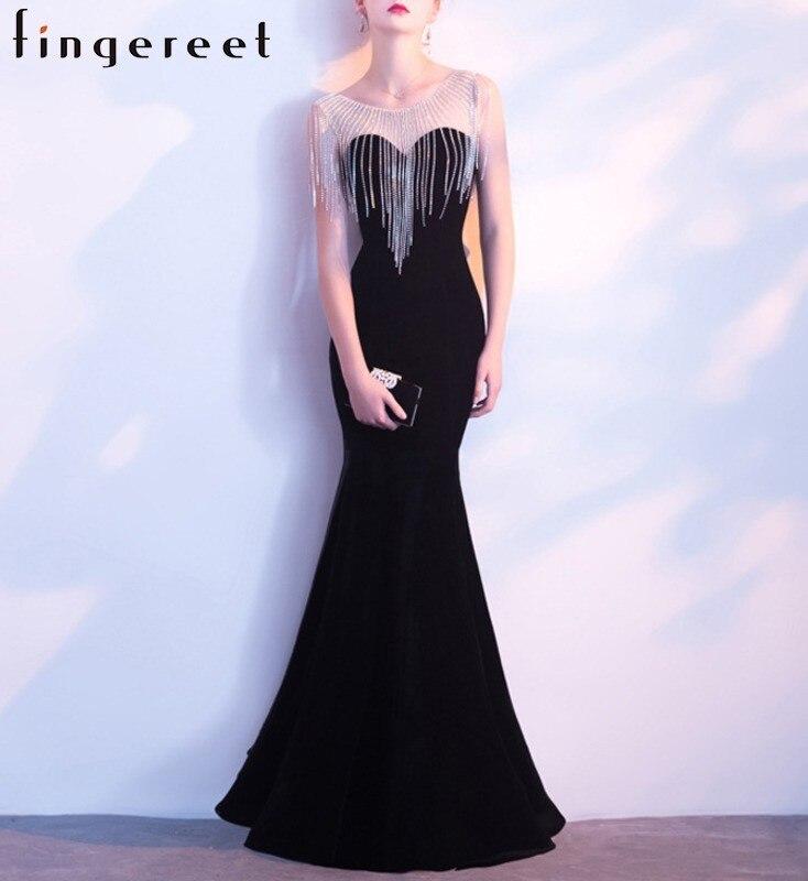 Motif Banquet Sexy atmosphère digne entreprise réunion annuelle robe complète fond Long noir poisson demoiselle d'honneur servir
