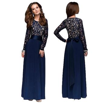 b461dc255 Mujer musulmana árabe encaje vestido largo vestido Maxi trajes Islam fiesta cóctel  vestido de Dubai Abaya Vestidos Oriente Medio Vestidos
