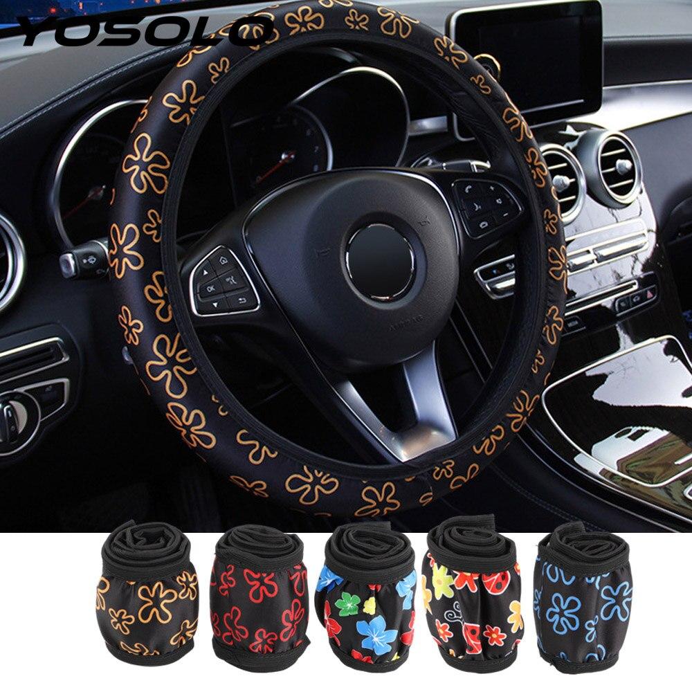 iTimo Car Elastic Universel Housse de Volant Fleur Style pour Décoration de Voiture Caches de volant