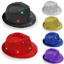Light Up Falshing Jazz Sequin Cowboy Cap Hat Trilby Fedora(China) f89d6bf235d2