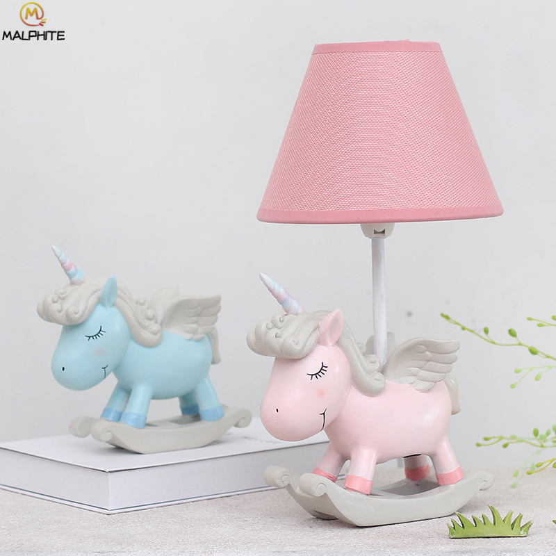 Nordic Pink unicorn table lamp for Children Bedroom ...