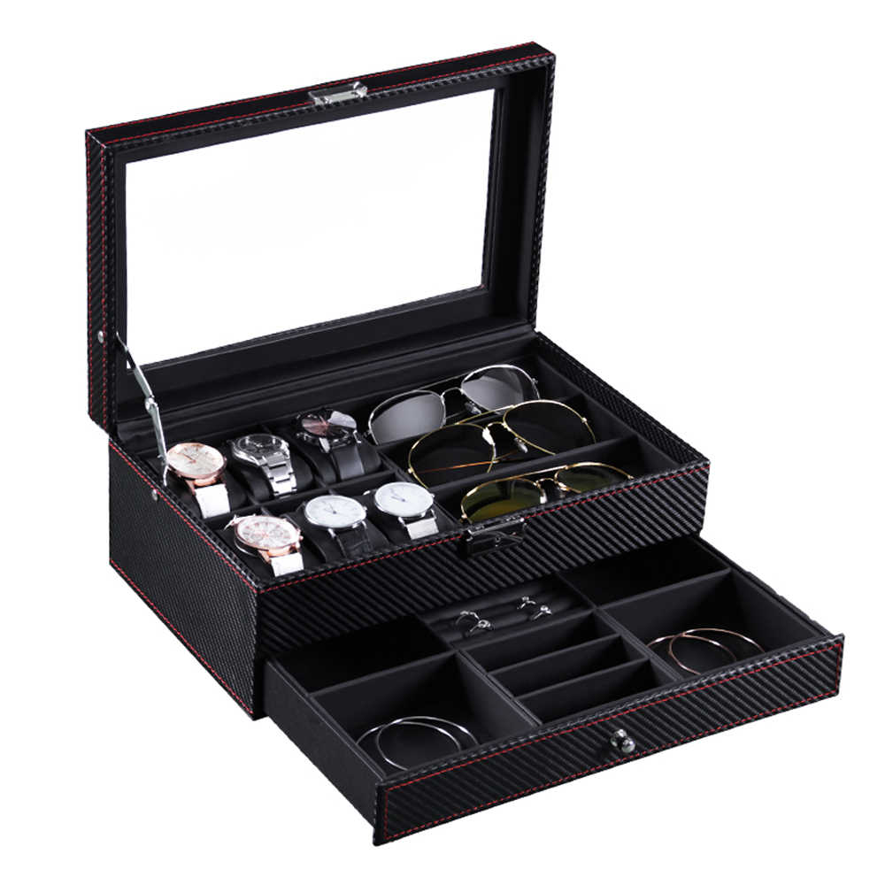 Double-layer Storage Box Organizer Display Case PU Leather Jewelry watches Display Organizer Box