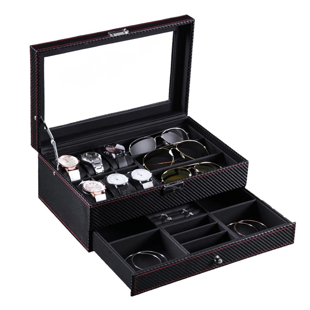Double layer Storage Box Organizer Display Case PU Leather Jewelry watches Display Organizer Box-in Storage Boxes & Bins from Home & Garden on AliExpress