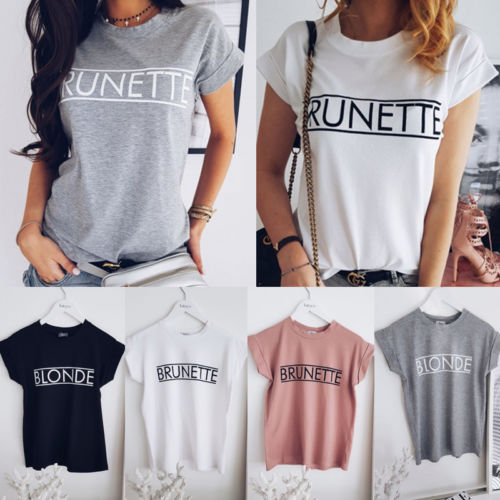 Women Fashion Short Sleeves O-Neck Loose   T     Shirts   Fashion Ladies Summer Casual Tops Tee