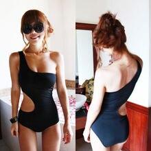 Сексуальные женские слитные костюмы на одно плечо, купальный костюм, мягкое обтягивающее бикини, сетчатый купальник, открытая однотонная черная пляжная одежда