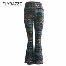 Women Retro Print Long Yoga Pants High Waist Wide Leg Pants Female Club Wear Bandage Boot Cut Pants Fashion Streetwear Trousers цены