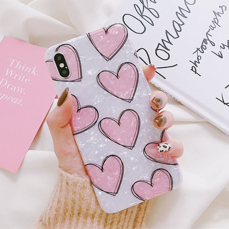 LOVECOM Pink Heart Dream Shell Case For iPhone XS XR XS Max X 6 6S 7 8 Plus Soft IMD Full Body Phone Back Cover Gift for Lover