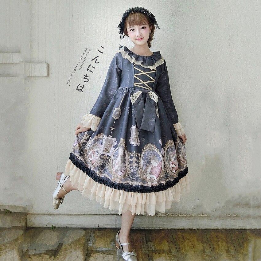 Sirène amour Lolita robe pour les femmes douce japonaise Kawaii fille Style à volants thé partie gothique bouffée médiévale imprimé Vestido