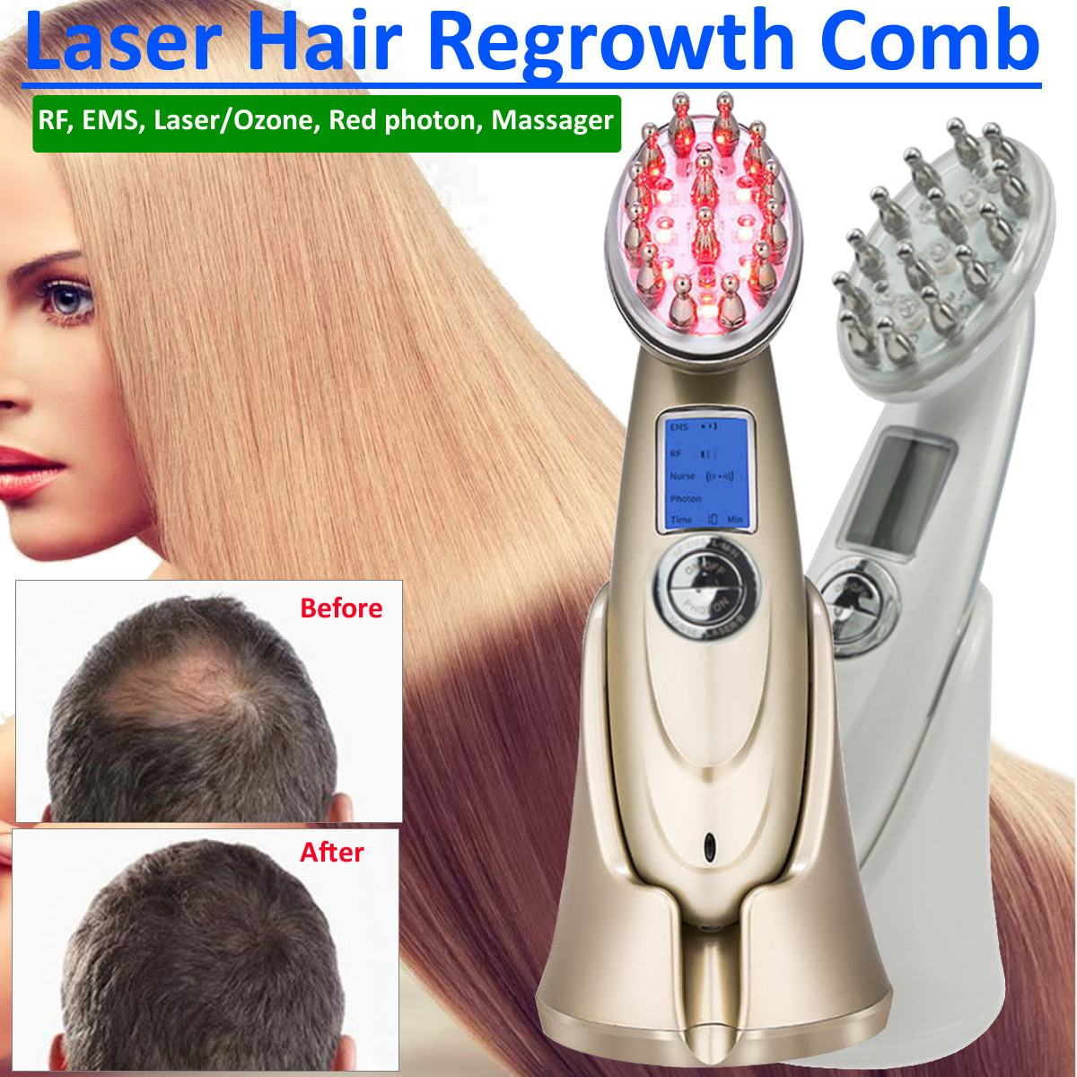 EMS Microcurrent Photon Light RF Hair Loss Renewable Therapy Vibration Massage Scalp Laser Hair Growth Rechargeable Care DeviceEMS Microcurrent Photon Light RF Hair Loss Renewable Therapy Vibration Massage Scalp Laser Hair Growth Rechargeable Care Device