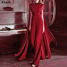 Xnxee Women Bodycon Autumn Jumpsuit O-Neck Batwing Sleeve Luxury Celebrity Party Club Vestidos 2019 New With Belt