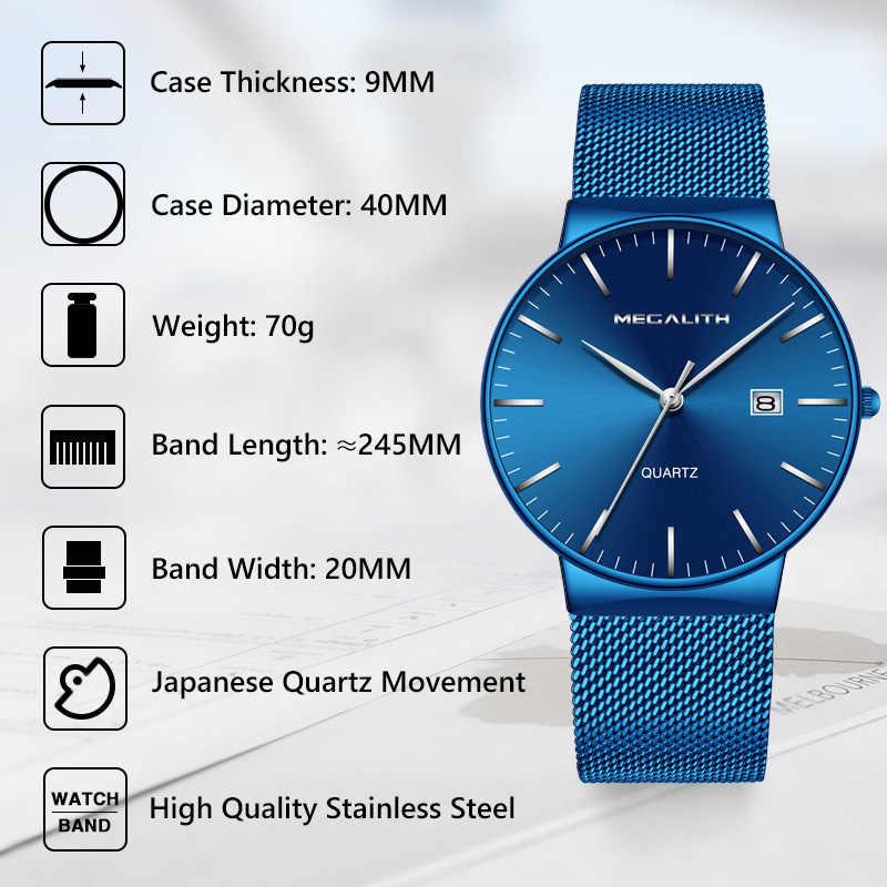 Relojes Para Hombre de MEGALITH 2019 de marca de lujo reloj de pulsera de fecha Delgado reloj de pulsera de malla azul para hombre relojes deportivos de cuarzo