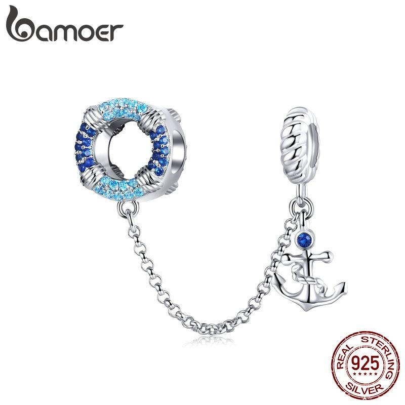 BAMOER 925 Sterling Silver Sea Blue Pendant Chain Fit Charm Bracelets Crystal DIY Women Jewelry Making Finding SCC1149