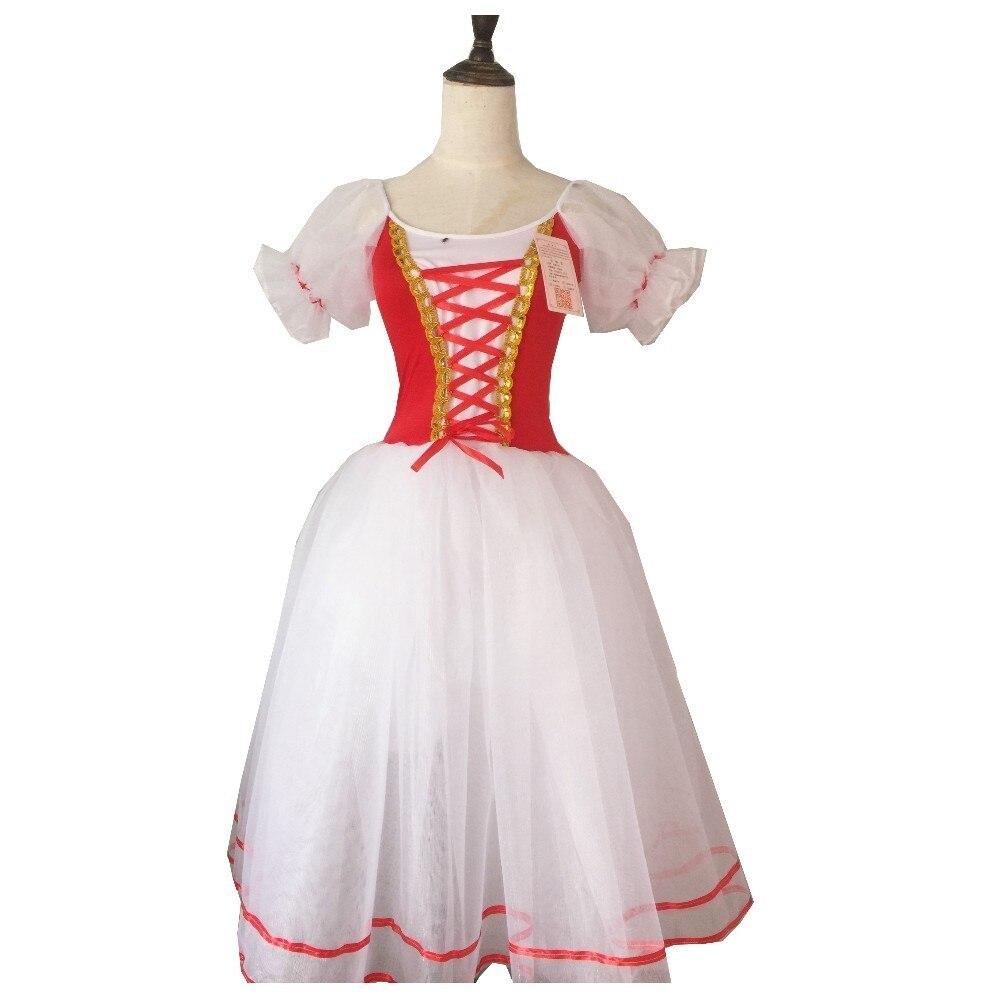 Image 5 - New Romantic Tutu Giselle Ballet Costumes Girls Child Velet Long Tulle Dress Skate Ballerina Dress Puff Sleeve Chorus DressBallet   -