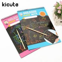 Kicute Горячие A4 красочные детский набор для рисования бумага для заметок черный блокнот Волшебная вертушка Art бумага для рисования с рисунок
