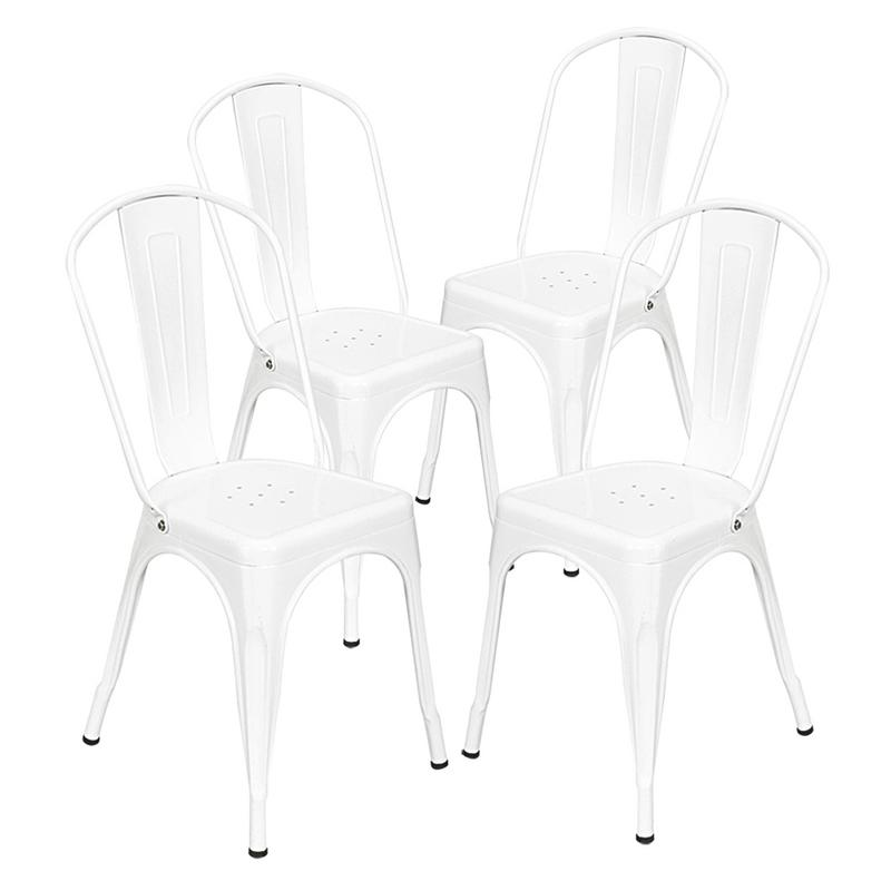 4pcs Retro Industrial-style Iron Sheet Chair White Chair Features A High-quality Steel And Lacquer Process Home Restaurant Bar
