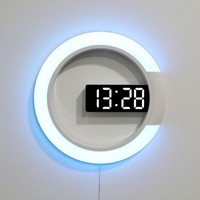Remote control Led digital wall clock Creative LED mirror hollow wall clock with alarm/temperature Ring light 7 color change