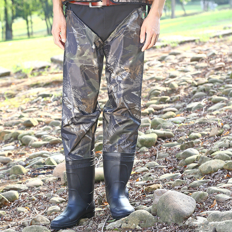 Adult Outdoor Fishing Waterproof Wading Pants Fisherman Catch Fish Hunting Wearproof PVC Rubber Camouflage Water Trousers