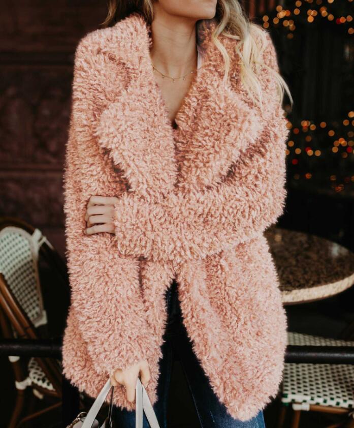 Fluffy Long Faux Fur Coat Women Thicken Winter Fake Fur Streetwear Pink Black Coat Female Fashion Streetwear Cardigan Outerwear