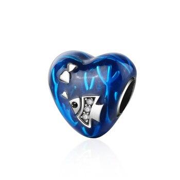 925 الاسترليني شكل قلب فضي سحر الخرز مع الأزرق المينا صالح الأوروبي سحر سوار مجوهرات الأزياء صنع للنساء هدية