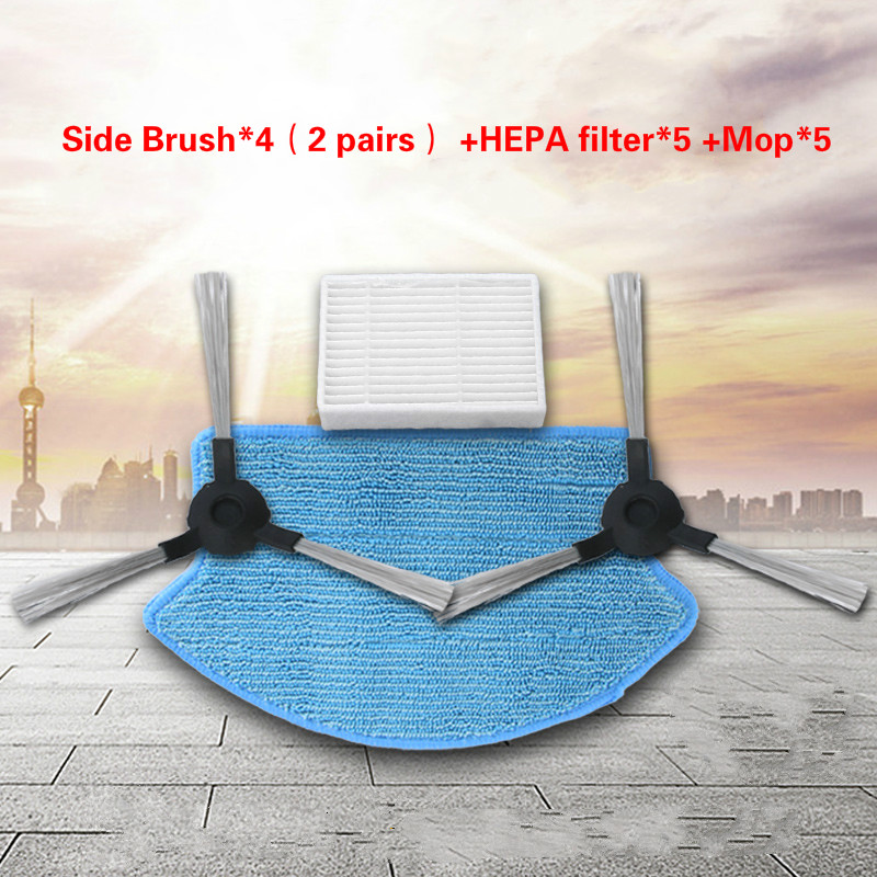 Side Brush*4 (2 pairs) + HEPA filter*5 +Mop*5 for Midea VCR15 / Midea VCR16 for Robot Vacuum Cleaner parts цена и фото